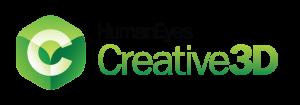 human eyes creative 3d green cube logo