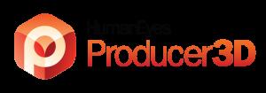 human eyes producer 3D orange cube logo