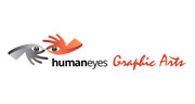 human eyes two hands with eyes grey and orange logo