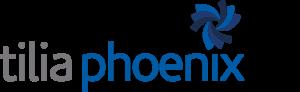 tilia phoenix logo blue and grey with swirl