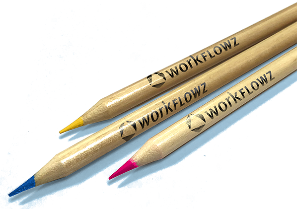 workflowz branded pink, yellow and blue colouring pencils
