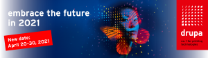 drupa 2021 blue butterfly on red background logo
