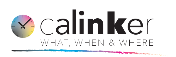 calinker logo with clock