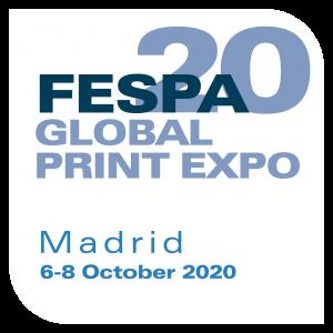 fespa madrid logo blue writing on white background