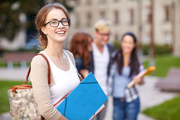 university student with blue folder